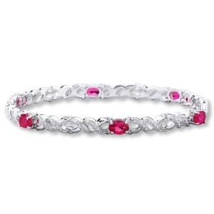 Kay ruby and sterling silver tennis bracelet